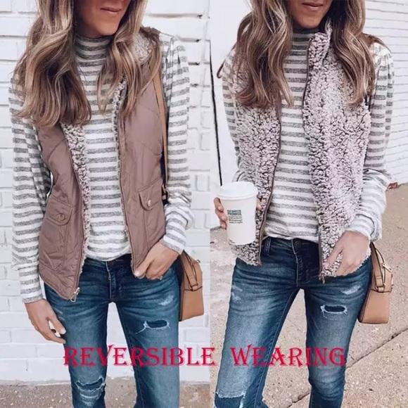 Jackets & Blazers - Reversible soft fleece vest jacket